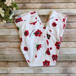 Moschino White Red Floral Jeans with Logo
